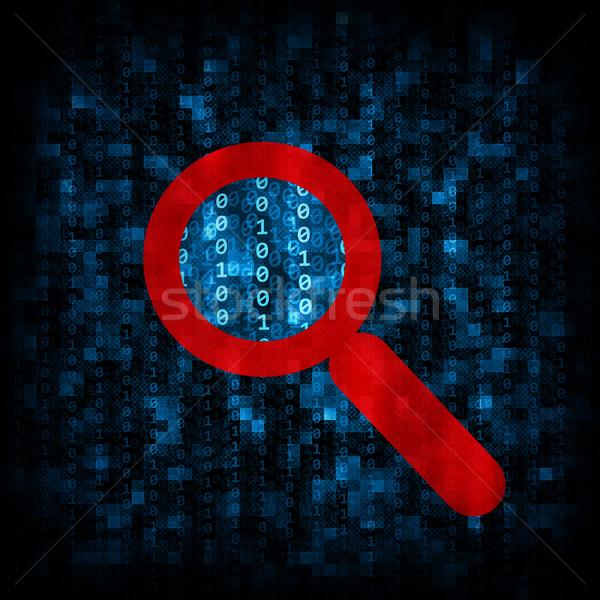 Ikili kod büyüteç ikon soyut elektronik bilgisayar Stok fotoğraf © cherezoff