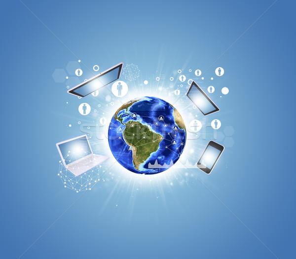Föld elektronika grafikonok hálózat elemek kép Stock fotó © cherezoff