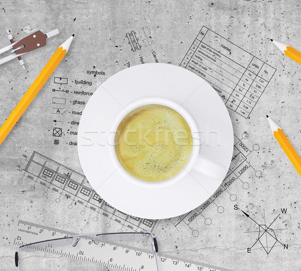 Techniczne plan budynku ołówki władcy Zdjęcia stock © cherezoff