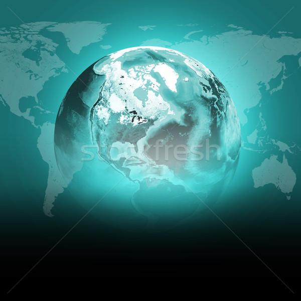 Verde terra mondo continenti trasparente mappa del mondo Foto d'archivio © cherezoff
