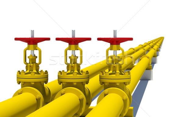 üç sarı borular yalıtılmış beyaz Metal Stok fotoğraf © cherezoff