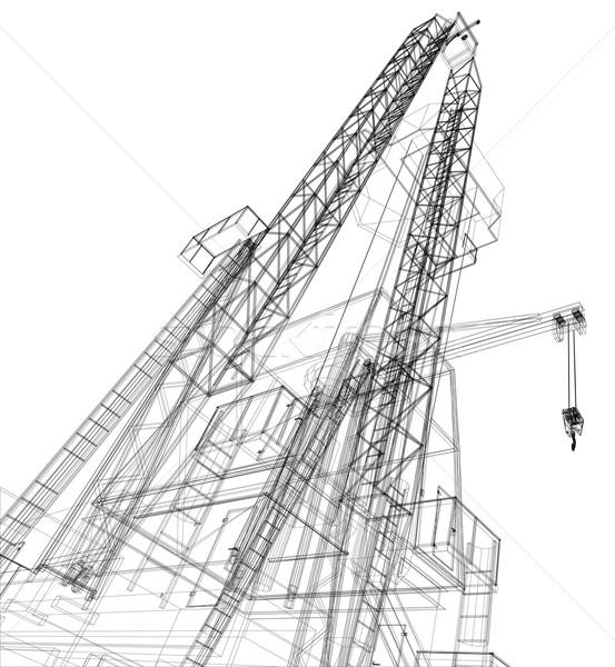 Plataforma de petróleo detalhado isolado branco vetor Foto stock © cherezoff