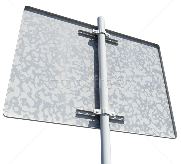 Rectangle road sign. Rear view. Isolated  Stock photo © cherezoff
