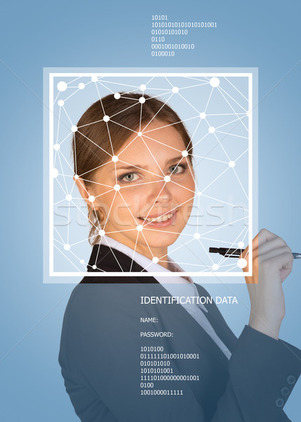 Business meisje lachend gezicht lijnen frame tekst Stockfoto © cherezoff
