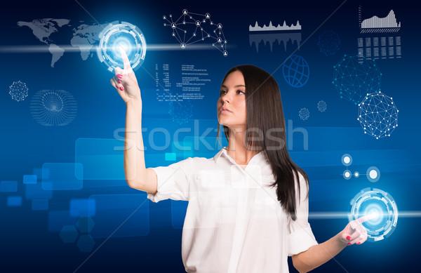 若い女性 ボタン 2 手 ストックフォト © cherezoff