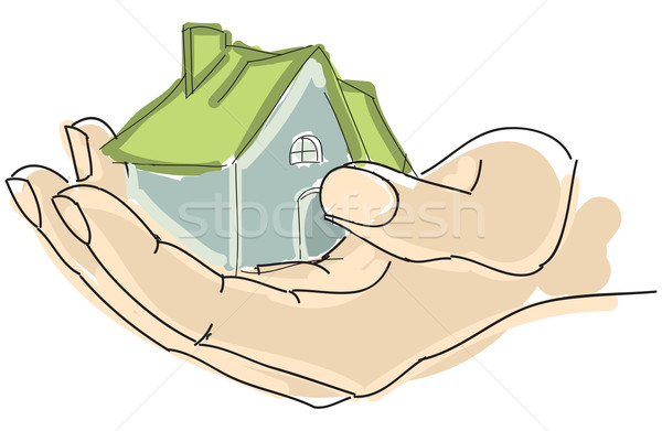 Drawn humans hand holding house with green roof Stock photo © cherezoff