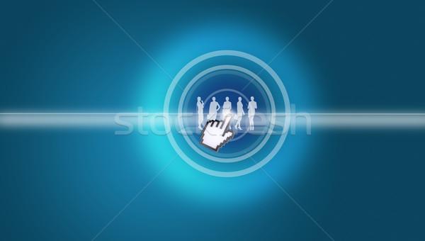 Cursor virtual pessoas silhuetas abstrato azul Foto stock © cherezoff