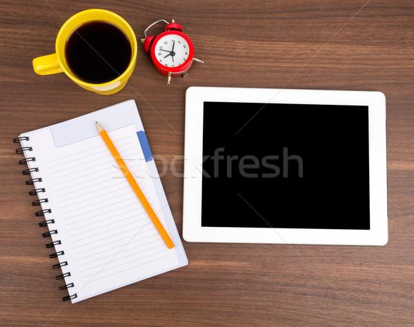 Schönschreibheft Tablet Wecker Holztisch Holz Bleistift Stock foto © cherezoff