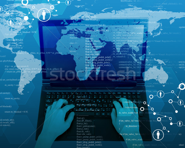 Womans hands with laptop and map Stock photo © cherezoff