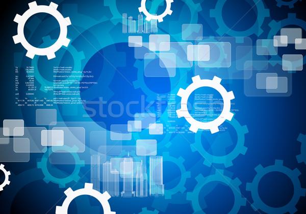 Streszczenie narzędzi koła zestaw niebieski budowy Zdjęcia stock © cherezoff