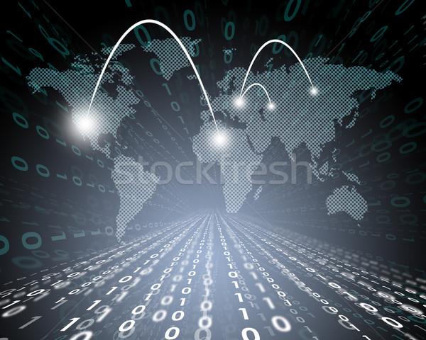 Abstract wereldkaart nummers technologie wereld Stockfoto © cherezoff