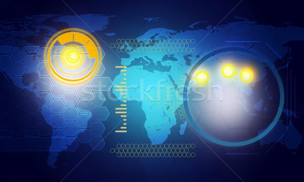 Stockfoto: Holografische · scherm · wereldkaart · cirkels · Blauw · technologie