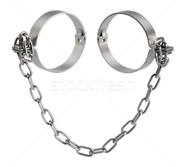 Metal shackles with chain. 3d render Stock photo © cherezoff