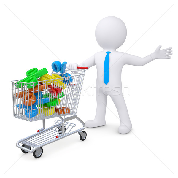 3d white man with a cart filled with percent signs Stock photo © cherezoff