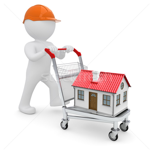 A white man in a helmet and a house on the trolley Stock photo © cherezoff