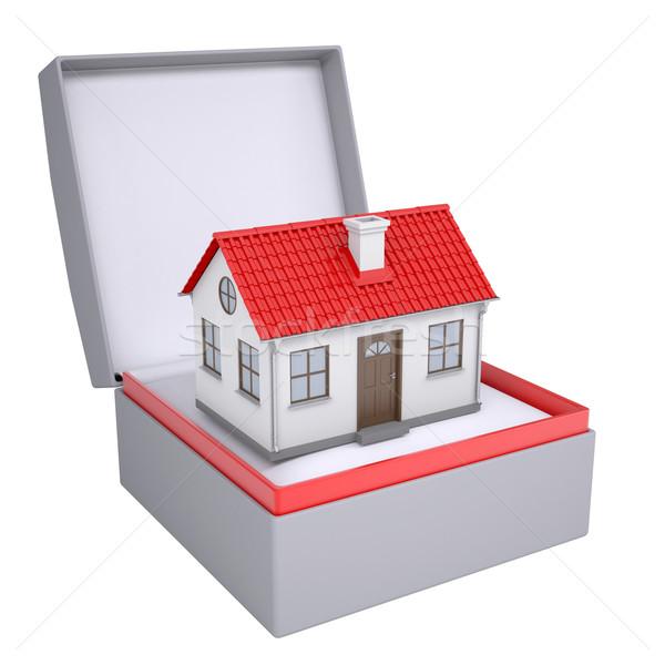 Wenig Haus öffnen Geschenkbox 3d render isoliert Stock foto © cherezoff