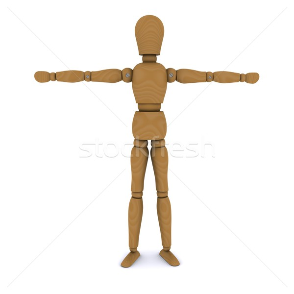 Wooden doll stands, hands to the sides. 3D rendering Stock photo © cherezoff