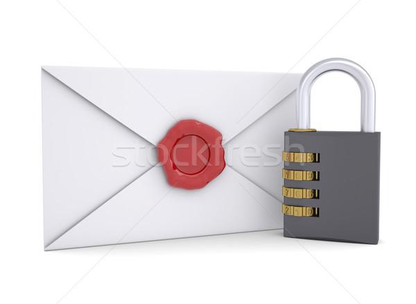 Combination lock and white envelope Stock photo © cherezoff