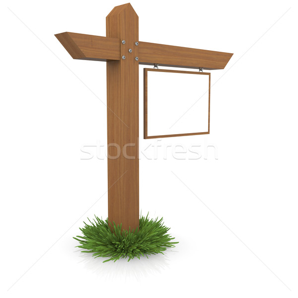 Wooden signboard in the grass Stock photo © cherezoff