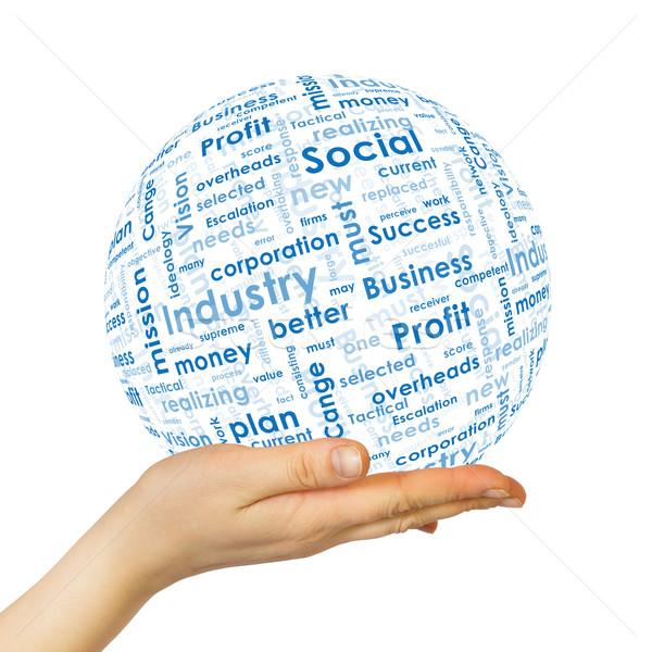 女性 手 球 ビジネス 単語 白 ストックフォト © cherezoff