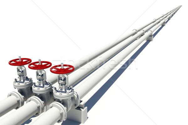 три белый Трубы изолированный металл трубы Сток-фото © cherezoff