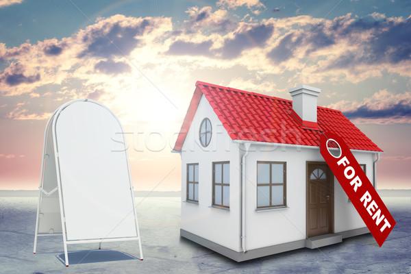 Fehér ház címke bérlés piros tető kémény Stock fotó © cherezoff