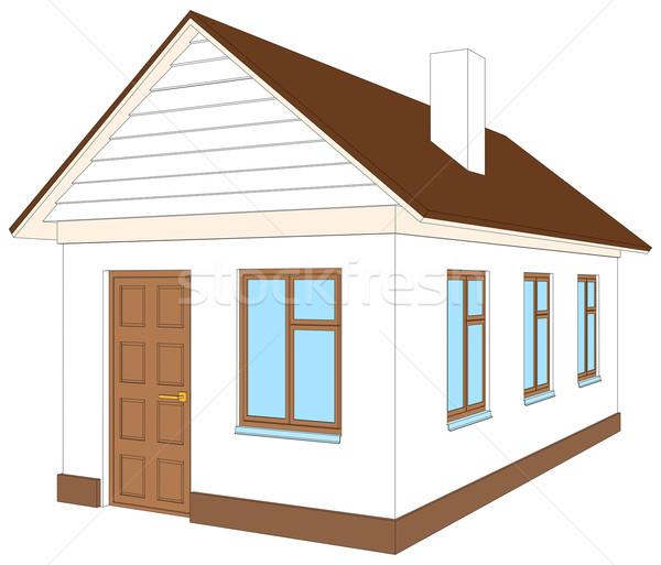 Casa bianca rosolare porta isolato bianco vista laterale Foto d'archivio © cherezoff