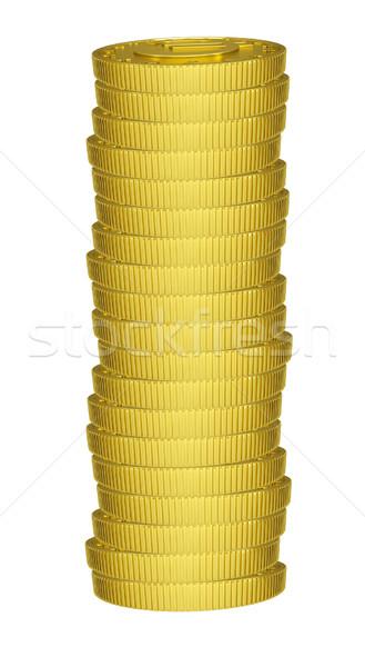 Gouden munten geïsoleerd witte Stockfoto © cherezoff