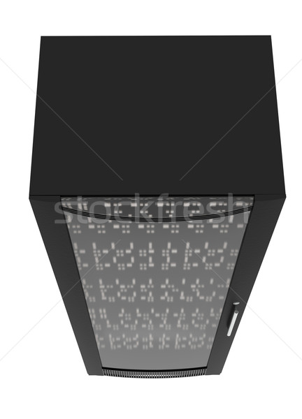 Black metal locker with handle, close up view Stock photo © cherezoff