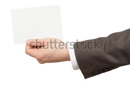Işadamı küçük boş kart yalıtılmış beyaz Stok fotoğraf © cherezoff