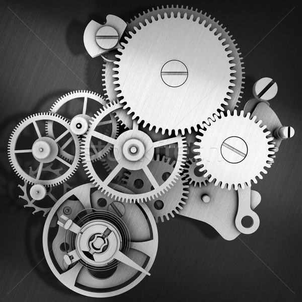 Grey metal cog gears joining together Stock photo © cherezoff