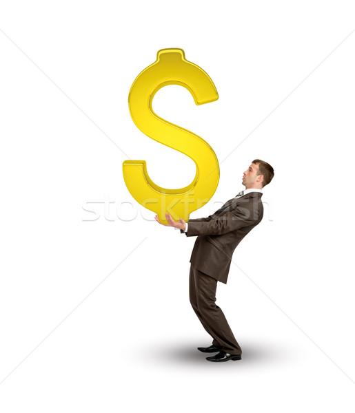 бизнесмен большой золото знак доллара изолированный Сток-фото © cherezoff