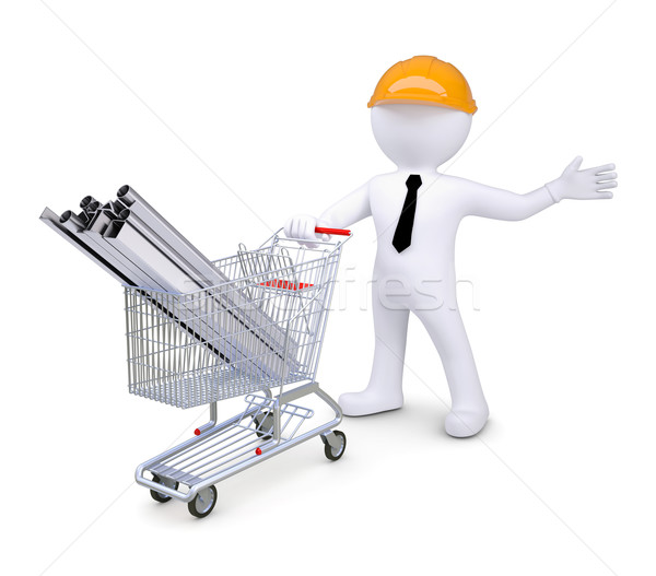 White human in a helmet standing beside carts with products made of metal Stock photo © cherezoff