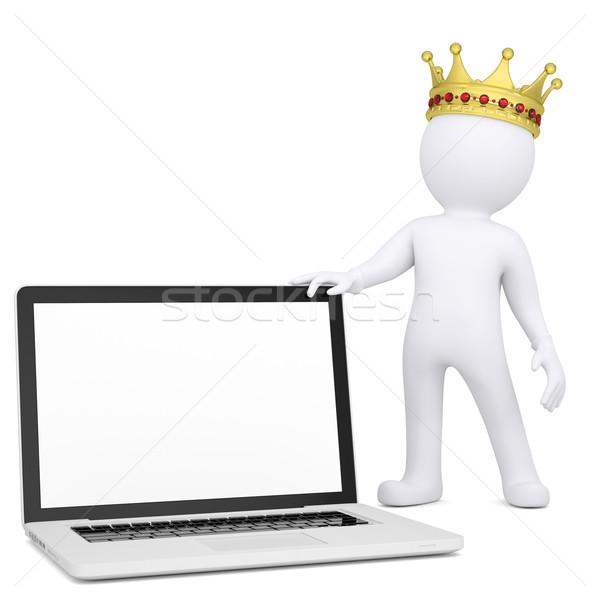 3D biały człowiek korony laptop odizolowany Zdjęcia stock © cherezoff
