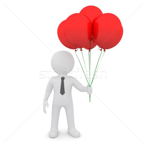 Uomo bianco rosso palloncini isolato bianco Foto d'archivio © cherezoff
