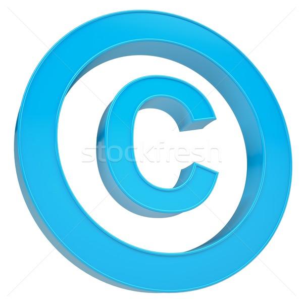 Mavi imzalamak telif hakkı yalıtılmış vermek beyaz Stok fotoğraf © cherezoff
