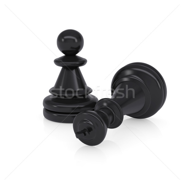 Black defeated chess king is near pawns Stock photo © cherezoff
