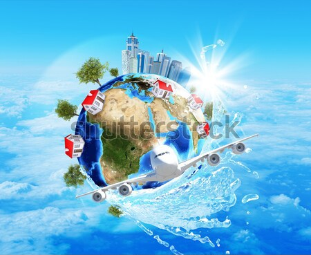 Earth, green grass, buildings, water and airplane Stock photo © cherezoff