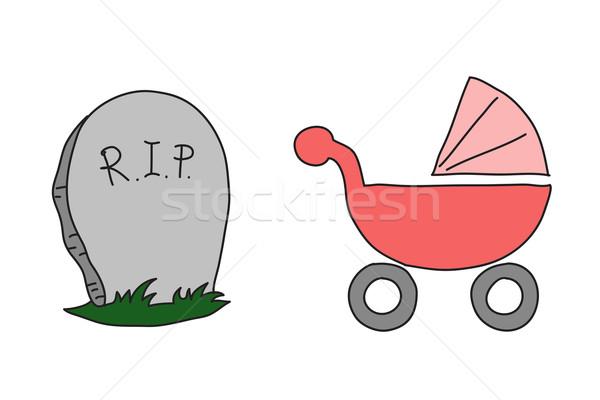 Sketch perambulator and gravestone Stock photo © cherezoff