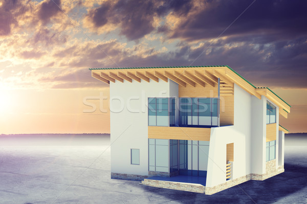 Hands holding cottage with windows. Background sun shines brightly Stock photo © cherezoff