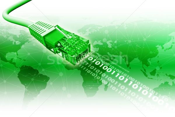 Zielone kabel komputerowy streszczenie mapie świata numery Zdjęcia stock © cherezoff