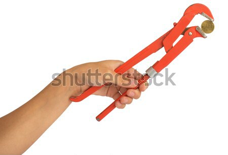 Humans hand holding coind within instrument Stock photo © cherezoff