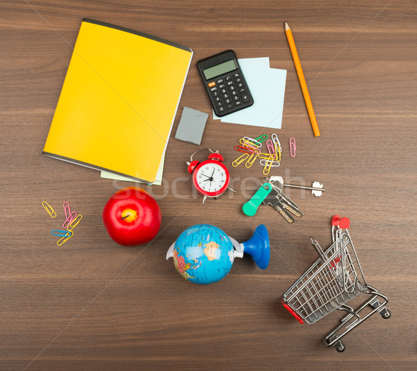 Shopping cart with office supplies Stock photo © cherezoff