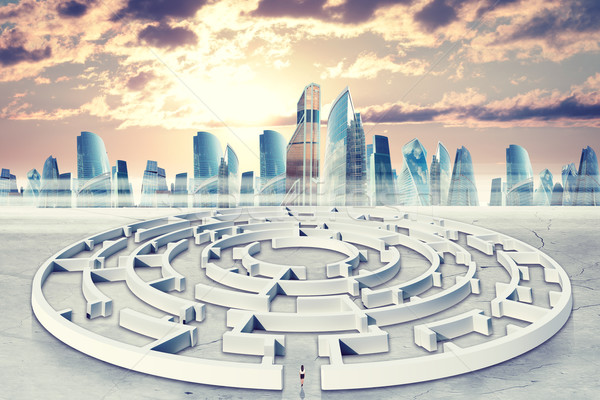 Business cityscape with labyrinth Stock photo © cherezoff