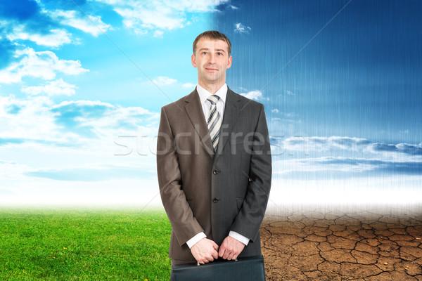 Iki işadamı iyi kötü hava eco doğa Stok fotoğraf © cherezoff
