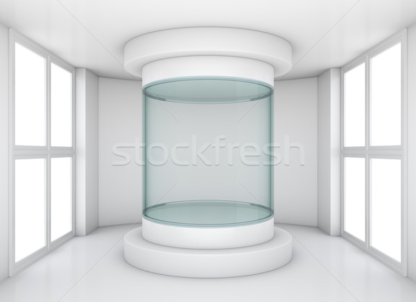 Empty glass showcase in exhibition room Stock photo © cherezoff