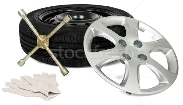 ストックフォト: タイヤ · 手袋 · ホイール · キャップ · 孤立した