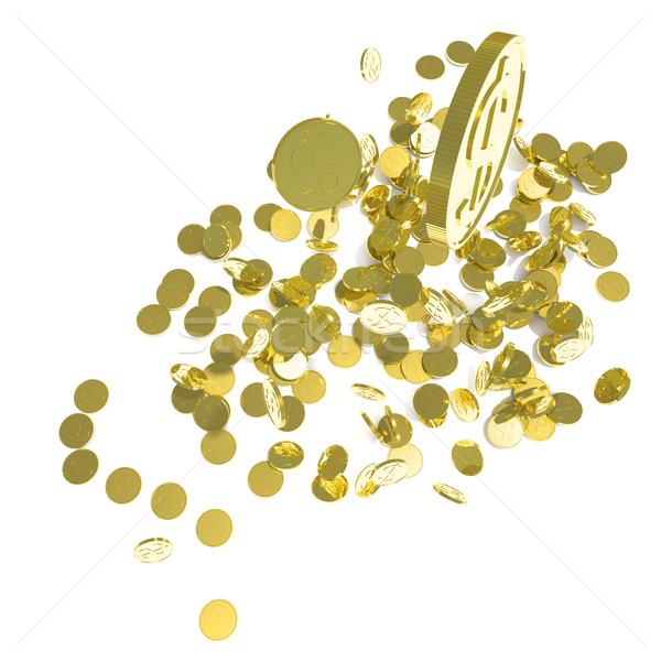 Vallen gouden munten geïsoleerd witte 3d illustration regen Stockfoto © cherezoff