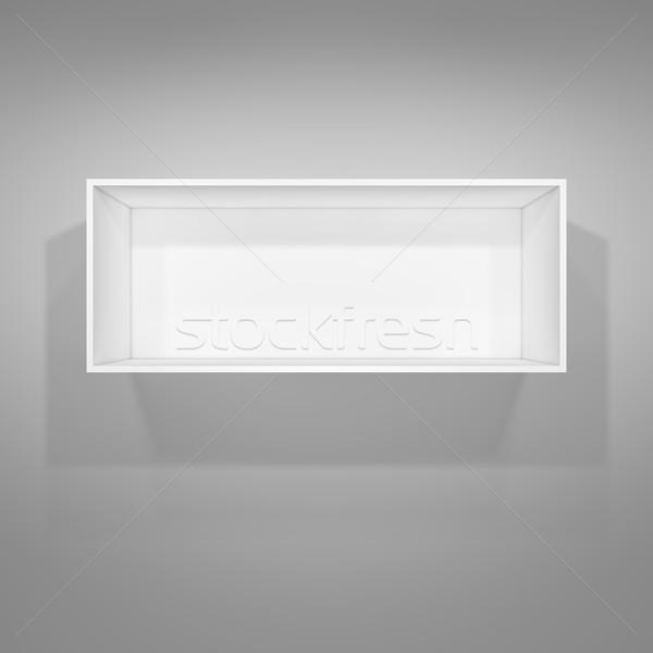 Megvilágított fehér polc prezentációk szürke 3d illusztráció Stock fotó © cherezoff