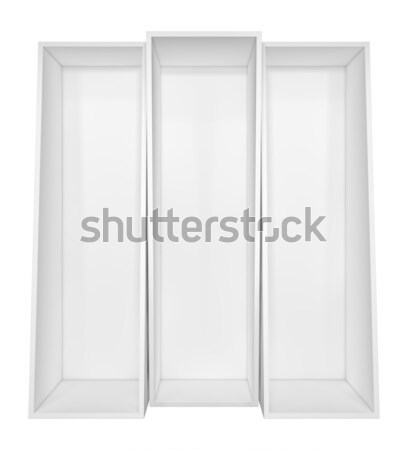 Stock photo: Empty white bookshelf